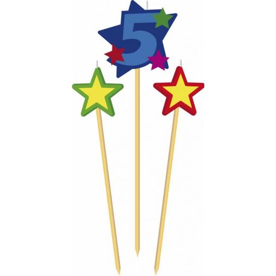 Kaarsen prikkers crijfer 5 met sterren