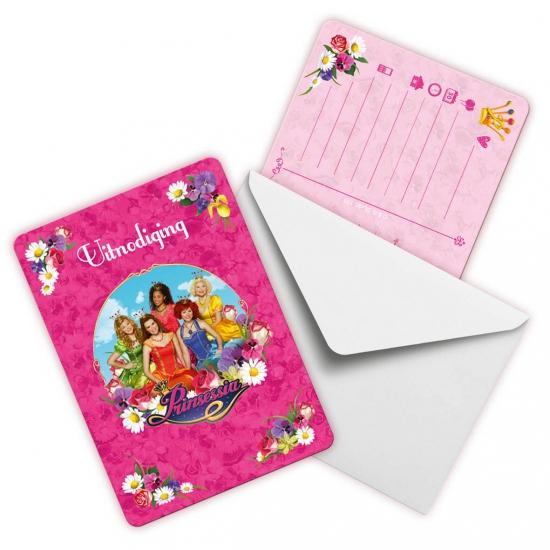 Kinderverjaardag Prinsessia uitnodigingen 6 stuks