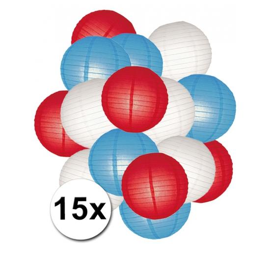 Voordeelpakket lampionnen rood/wit/blauw