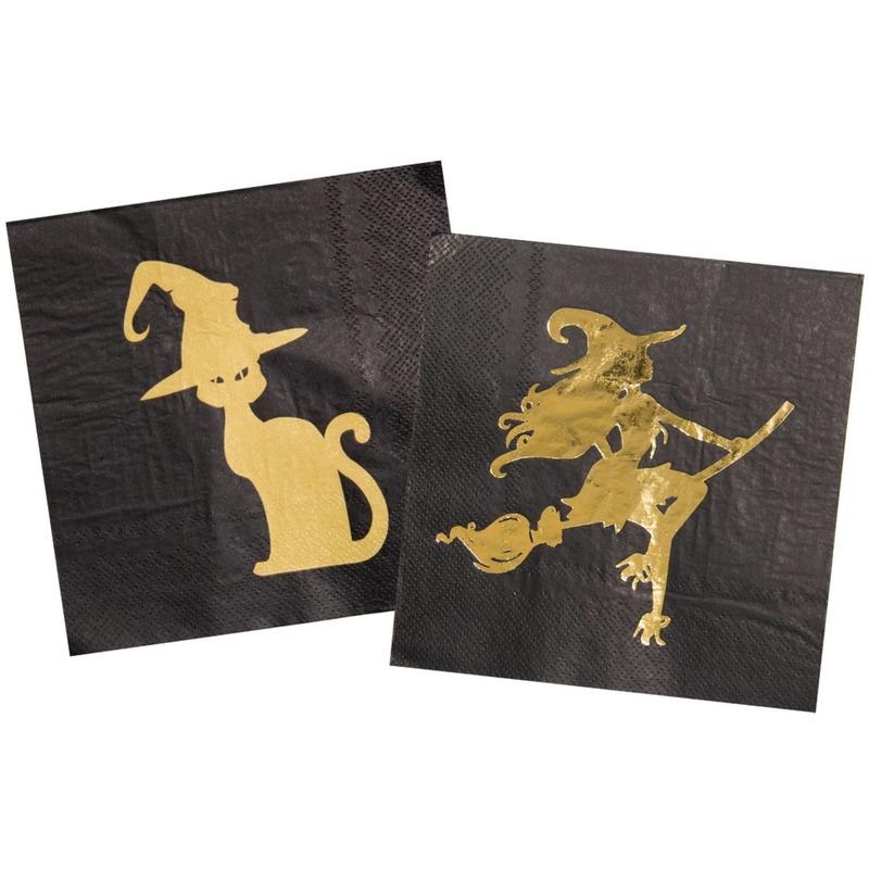 20x Heksen/zwarte kat thema servetten 33 x 33 cm