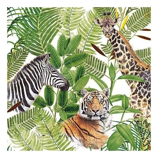 20x Safari / jungle thema servetten 33 x 33 cm