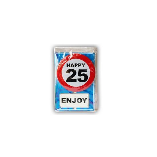 25 jaar verjaardagskaart met button