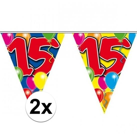 2x Feestartikelen Leeftijd vlaggenlijn 15 jaar 10 meter