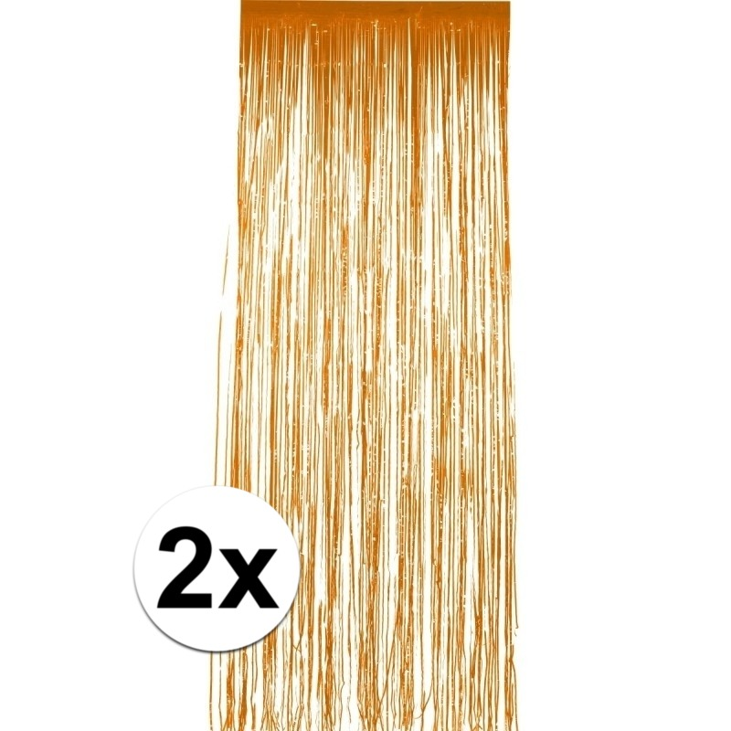 2x stuks folie deurgordijnen oranje 244 x 91 cm