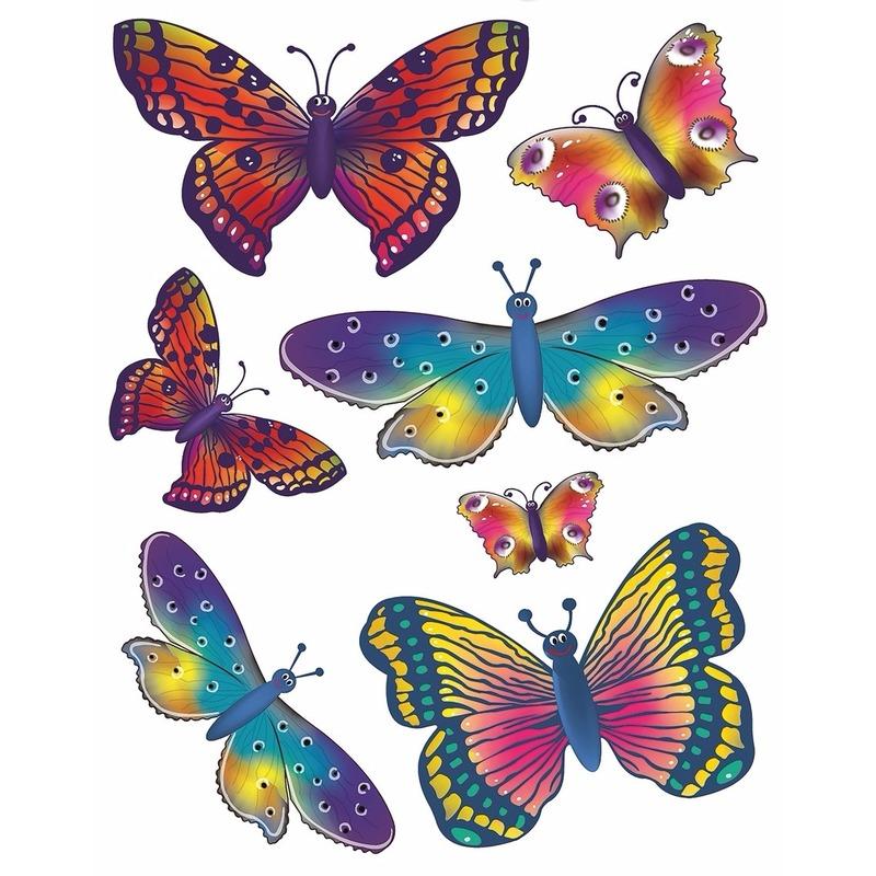 2x velletjes Kinderkamer raamdecoratie sticker vlinder