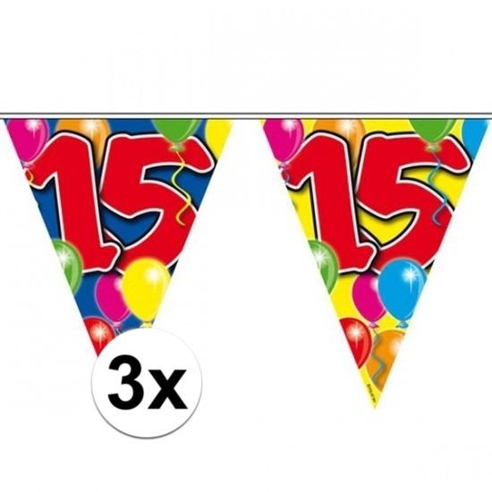 3x Feestartikelen Leeftijd vlaggenlijn 15 jaar 10 meter