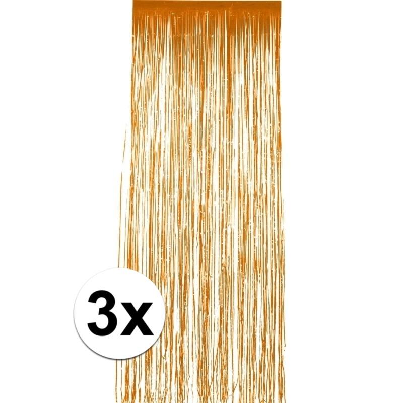 3x stuks folie deurgordijnen oranje 244 x 91 cm