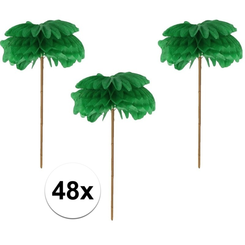 48x Feestartikelen Cocktail prikkers palmboom