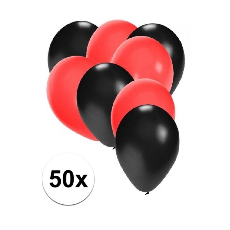 50x ballonnen - 27 cm - zwart / rode versiering