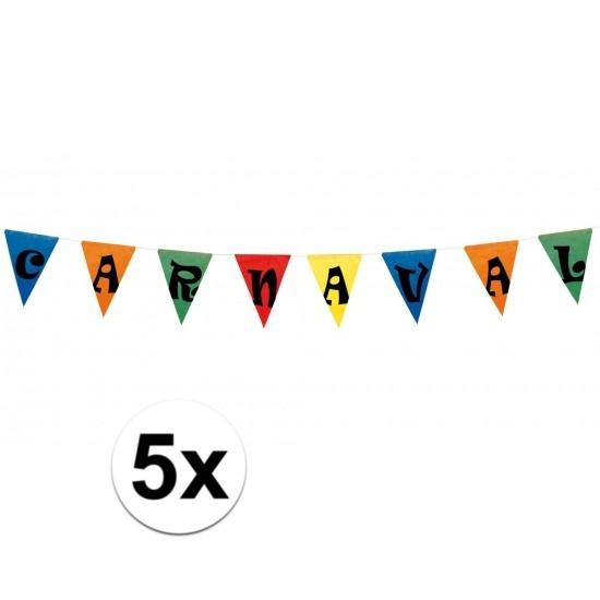 5x Feestartikelen Carnaval vlaggenlijn 10 meter