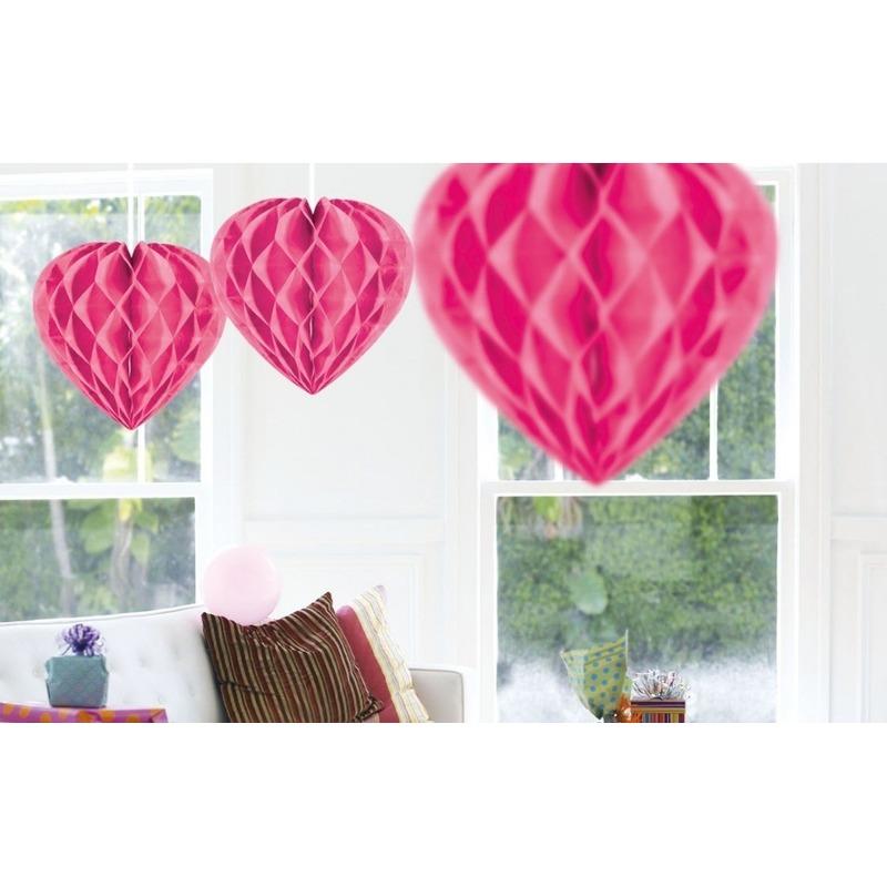 5x Roze hangdecoratie hart 30 cm