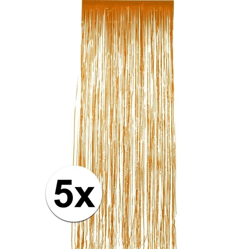 5x stuks folie deurgordijnen oranje 244 x 91 cm