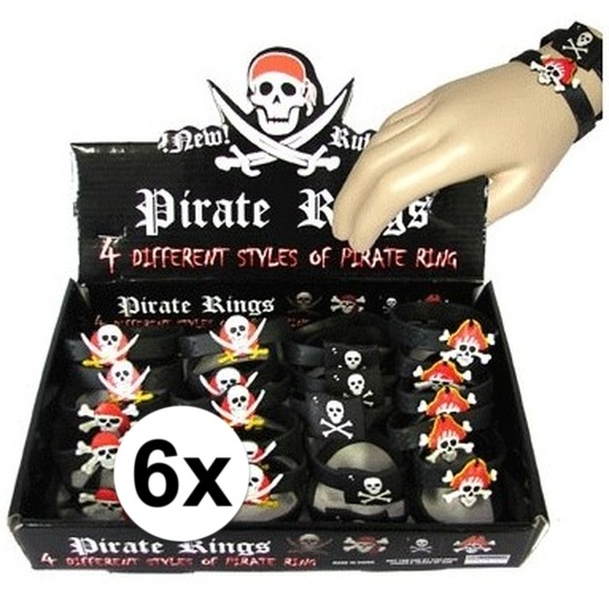 6x Kinderfeestje piraten thema armband