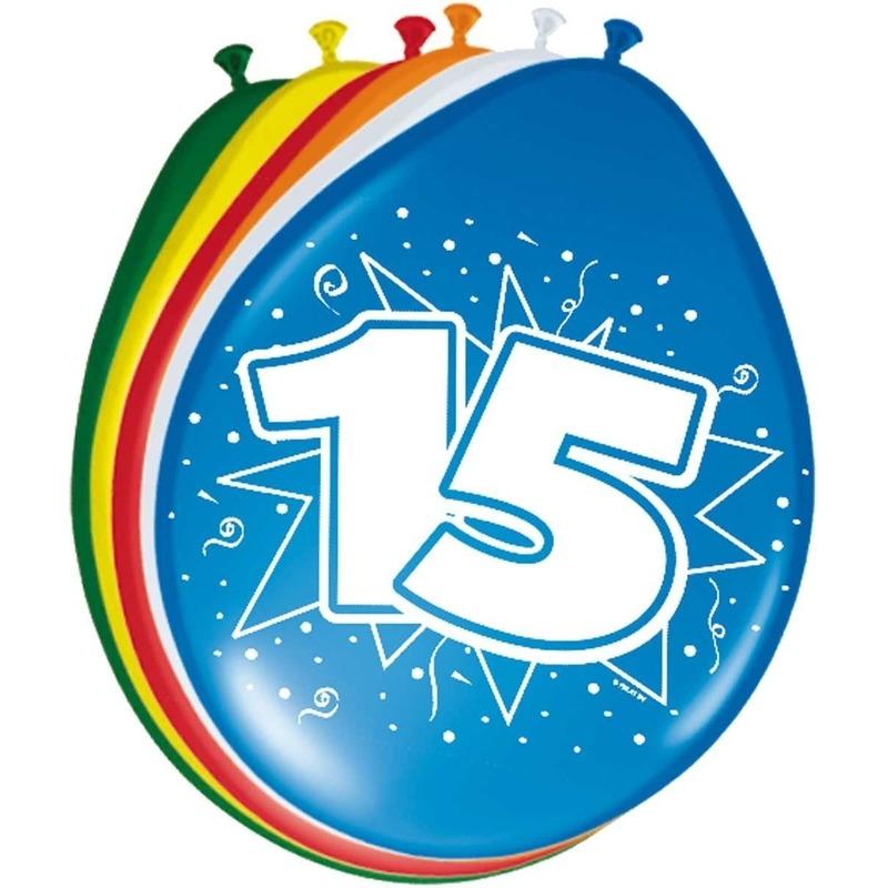 8x stuks Feestartikelen Ballonnen 15 jaar