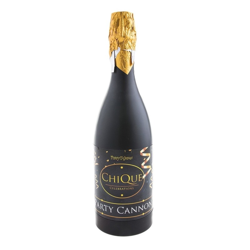 Confetti shooter champagne oud en nieuw/nieuwjaar zwart 30 cm