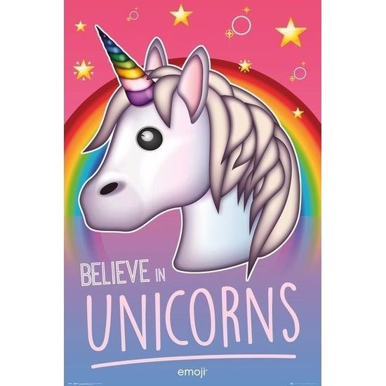 Decoratie poster unicorns 61 x 92 cm