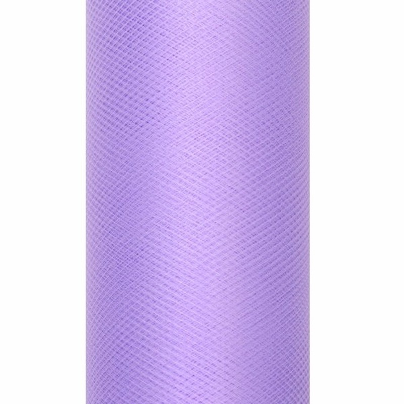 Decoratie tule stof paars 15 cm