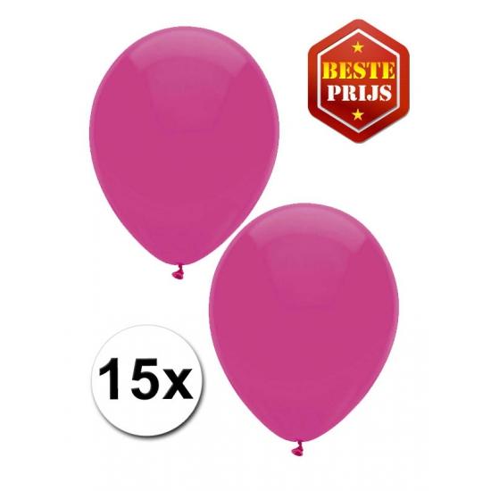 Feest ballonnen donkerroze 15 stuks
