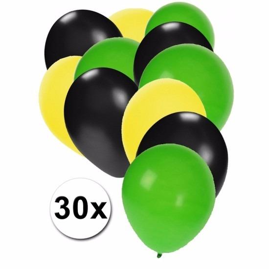 Feest ballonnen geel/zwart/groen 30 stuks