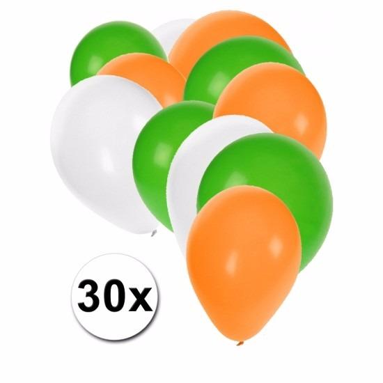 Feest ballonnen groen/wit/oranje 30 stuks