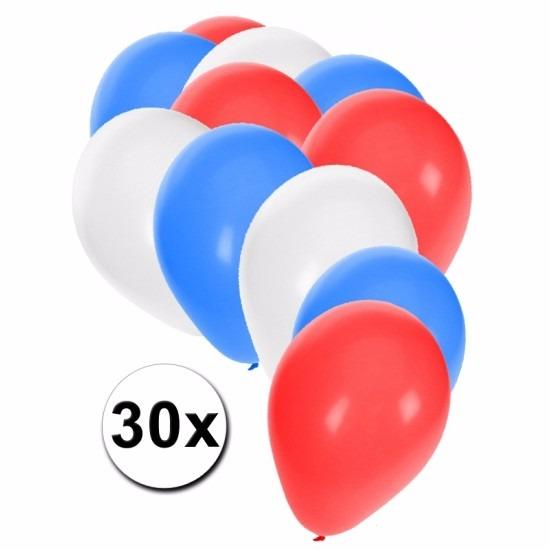 Feest ballonnen rood/wit/blauw 30 stuks