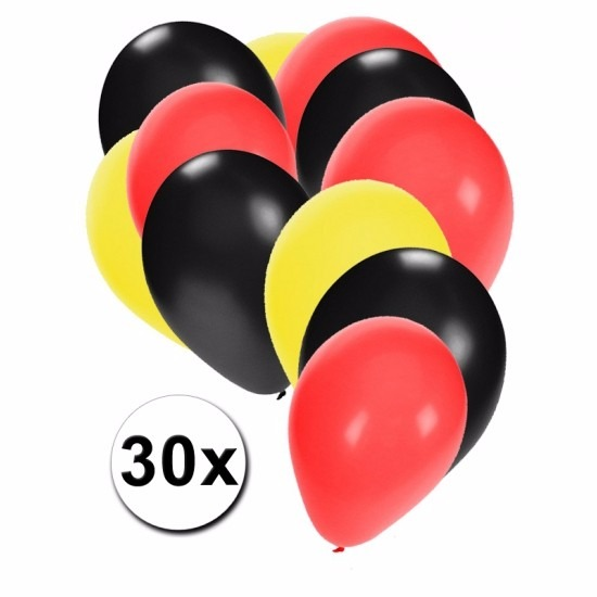 Feest ballonnen zwart/geel/rood 30 stuks