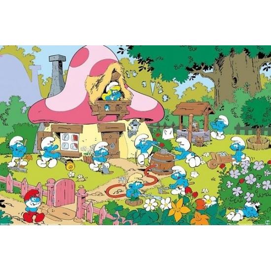 Feest versiering Smurfen Tuin Maxi poster 61 x 91 cm