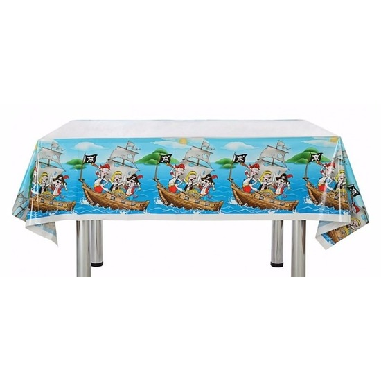 Feestartikelen blauw piraten tafelkleed 137 x 182 cm