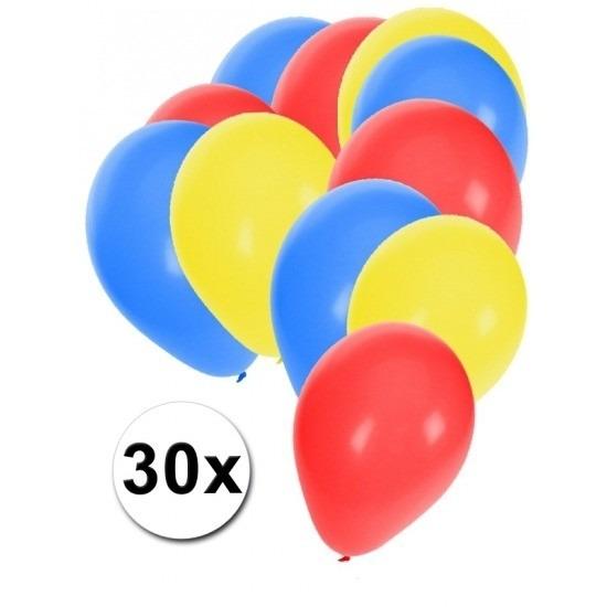 Feestartikelen blauwe-rode-gele ballonnen