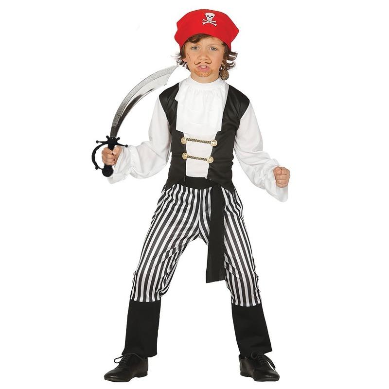 Feestkleding piraatje met zwaard maat 128-134 voor kinderen