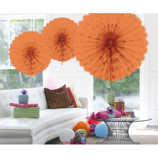 Hangdecoratie zalm kleurige waaier 45 cm