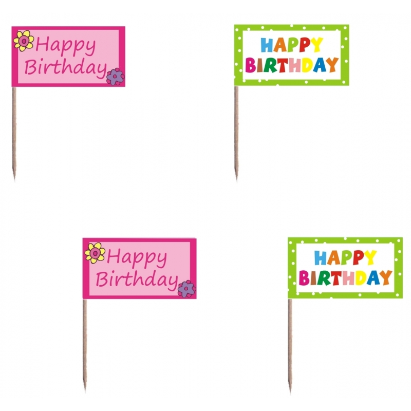 Happy Birthday cocktail prikkers 40 stuks