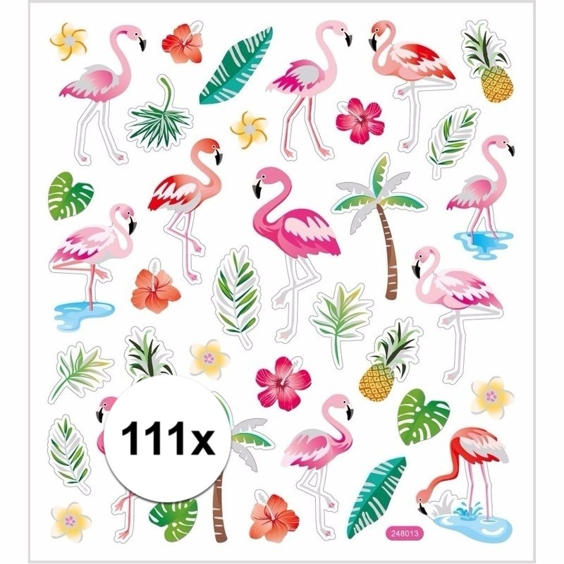 Hobby flamingo stickers gekleurd 111 stuks
