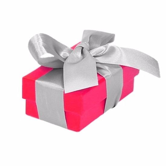 Inpak doosje fuchsia roze met deksel en zilveren strik 8 cm