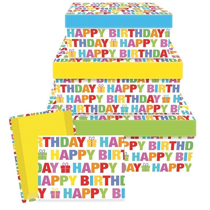 Inpak doosje met deksel Happy Birthday 22 cm