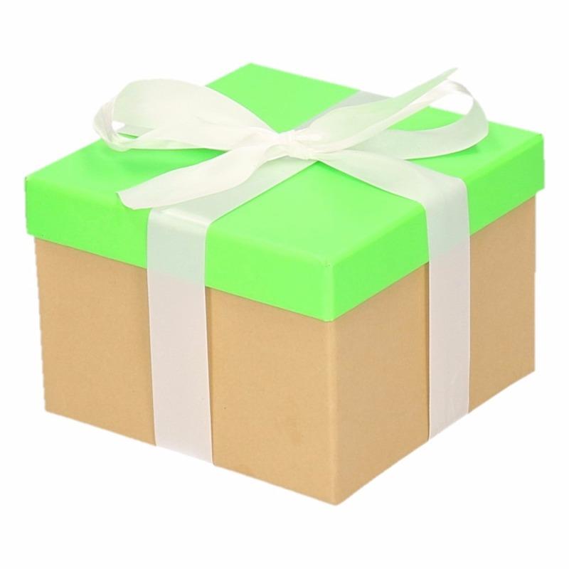 Inpak doosje neon groen met deksel en witte strik 15 cm