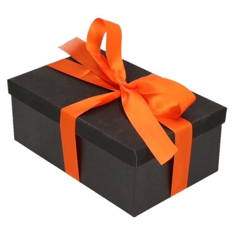 Inpak doosje zwart met glitter deksel 7 cm met oranje lint
