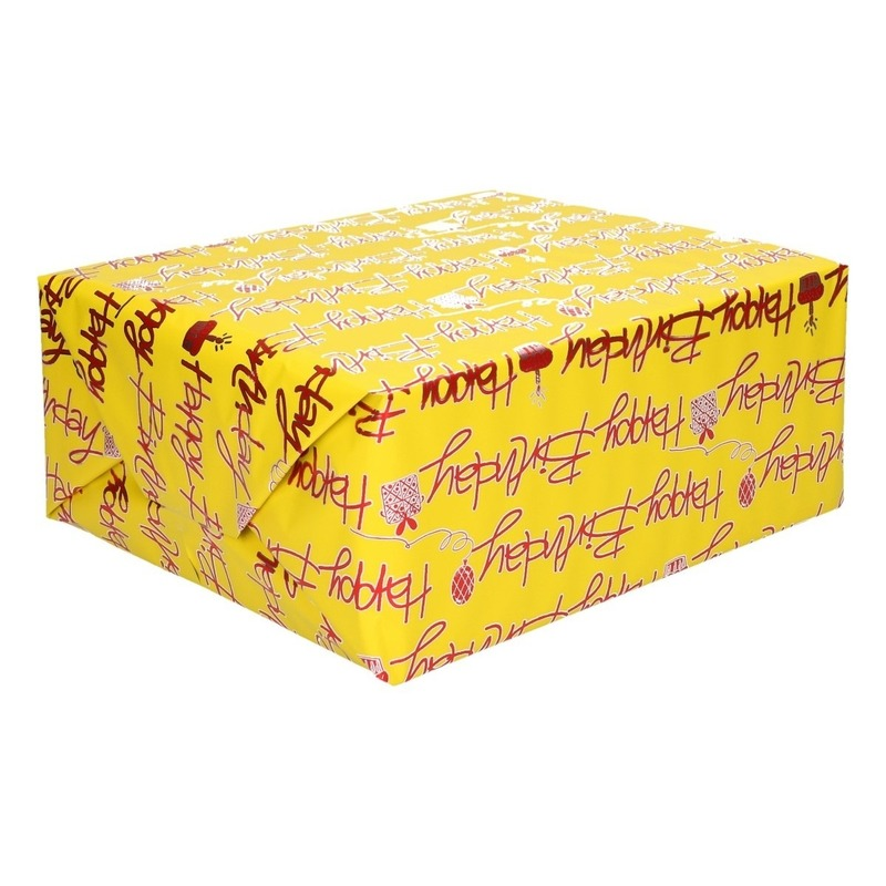 Inpakpapier holografisch geel tekst Happy birthday 200 x 70 cm