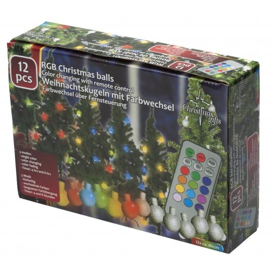 Kerstbal lichtjes gekleurd met afstandsbediening 12 stuks