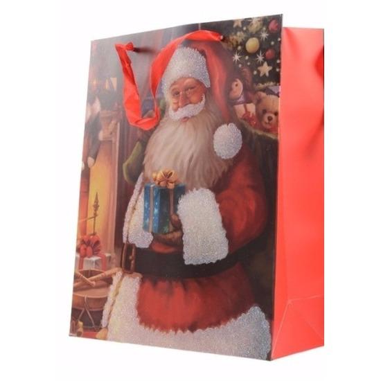 Kerstman print cadeau tas 72 cm type 2