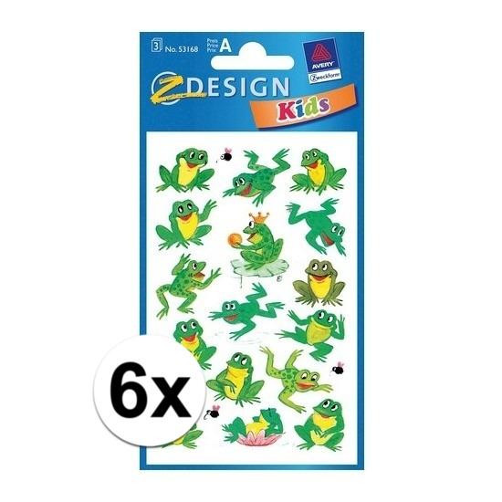 Kikkers stickers van papier 6 vellen