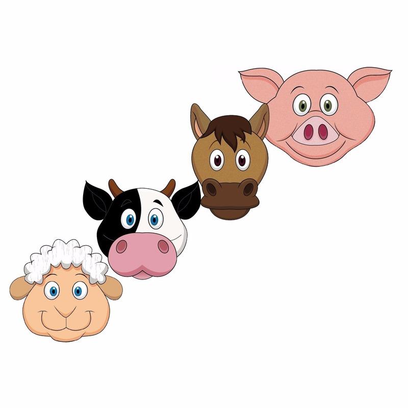 Kinderfeestje boerderij dieren maskers