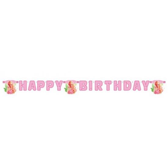 Kinderverjaardag Barbie slingers met letters 2,15 meter
