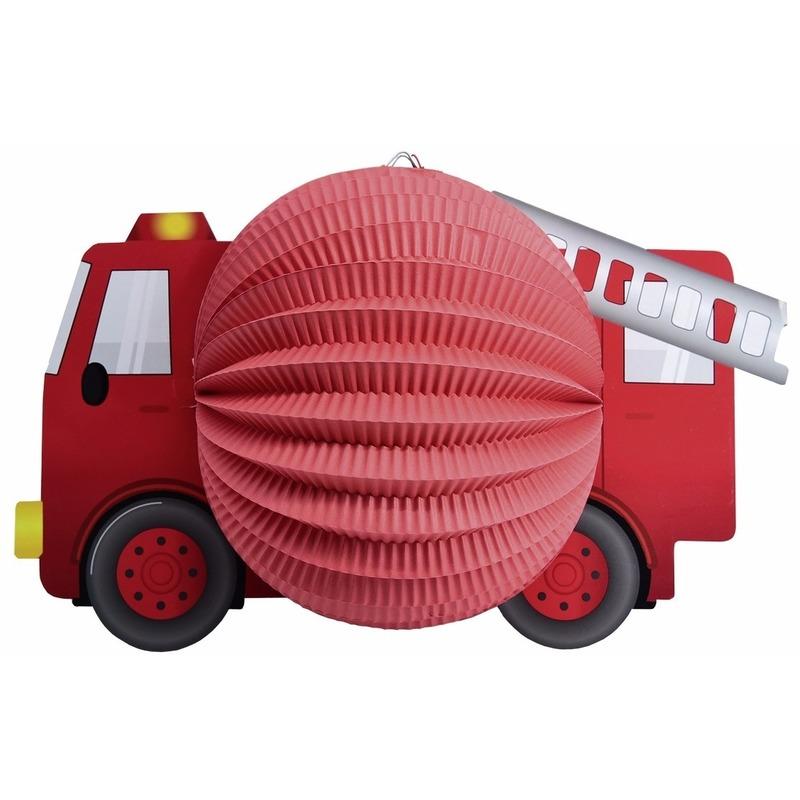 Lampionnen rode brandweerauto 20 cm