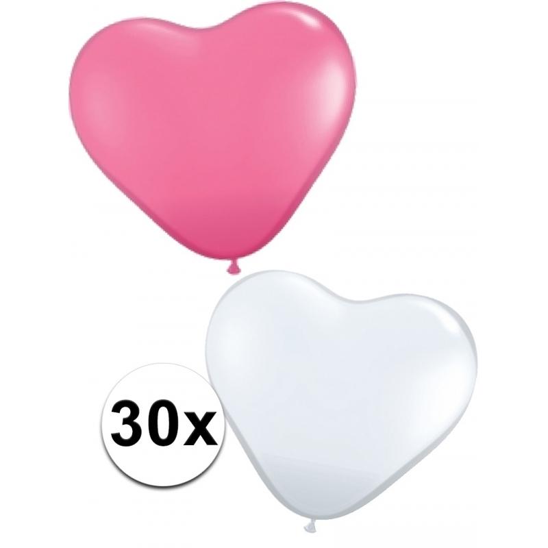 Latex hartjes ballonnen roze/wit 30x
