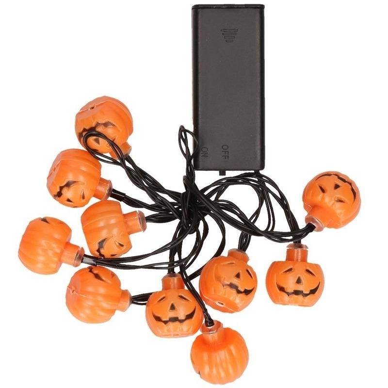 LED verlichting lichtsnoer pompoen 10 lampjes 140 cm