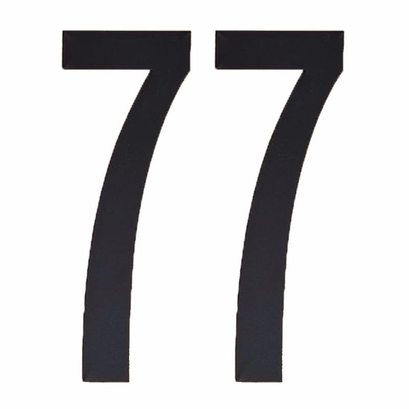 Naamsticker cijfer 77 zwart