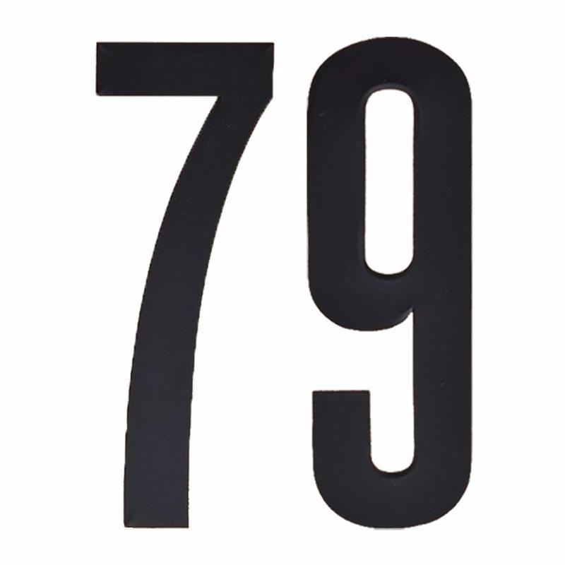 Naamsticker cijfer 79 zwart