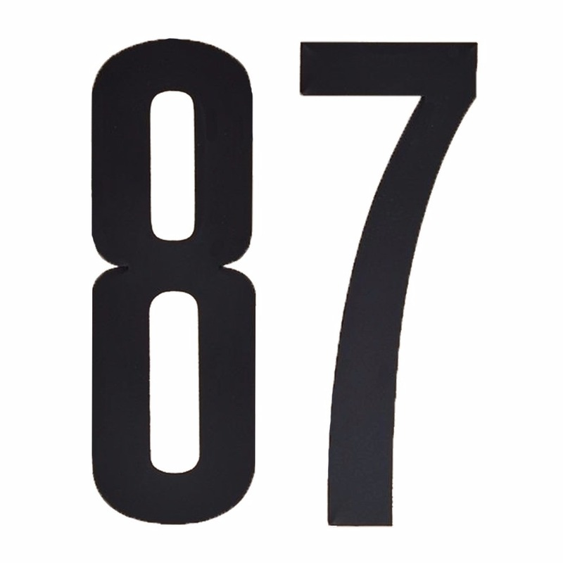 Naamsticker cijfer 87 zwart