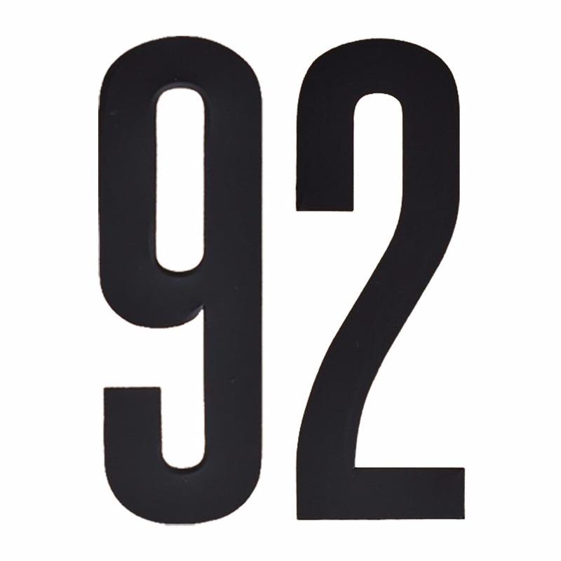 Naamsticker cijfer 92 zwart